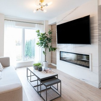Trendi Townhomes Markham - Living Room with Fireplace